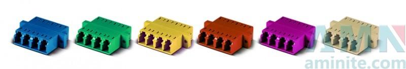 LC/UPC to LC/UPC Quad Fiber Optic Adapter with SC Footprint