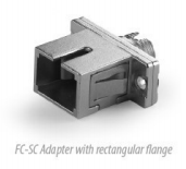 FC to SC Simplex Metal Hybrid Adapter With Rectangular Flange